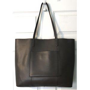 Margot Spanish Leather Tote Bag Dark Brown Large